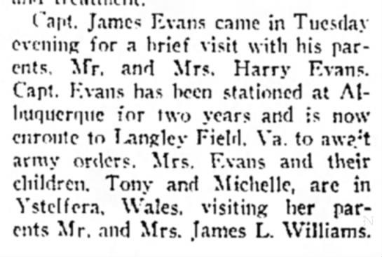 Capt James Evans visit.  Feb 28, 1952 Malvern Leader - Capt. James Evans came in Tuesday evening for a...