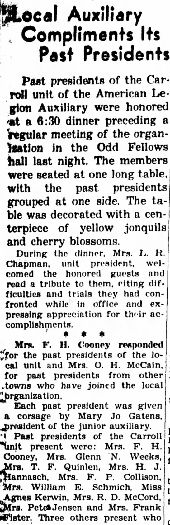 20 Apr 1945 Carrol Daily Times Herald Carroll, Iowa - teal Auxiliary Compliments Its Past Presidents...