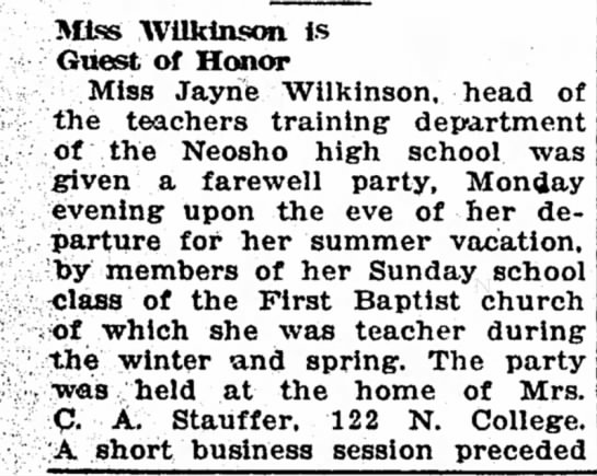 Stauffer, C A Address - Miss Wilkinson is Guest of Honor Miss Jayrie...