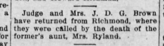 Society column excerpt, 1914 - returned a for Judge and Mrs. J. D. Q. Brown...