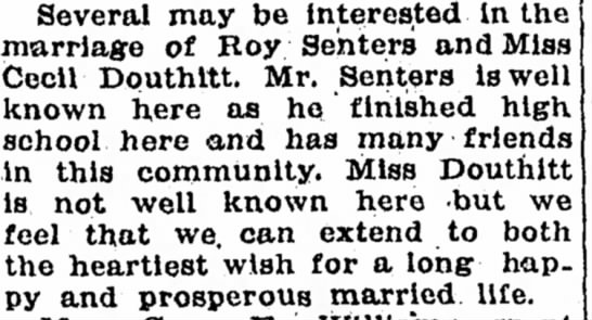 Cecil Douthitt marriage to Roy Senters