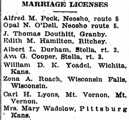 J Thomas Douthitt marriage to Edith M Hamilton