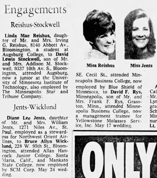 The Mpls Star (Mpls MN 07 May 1969 Wed - Engagements Reishus-Stockwell Reishus-Stockwell...