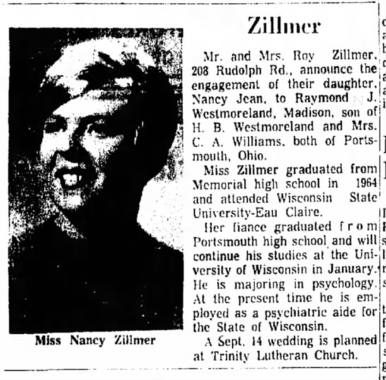 "Nancy Zillmer - Engagement (Roy Zillmer - father) - — | 7iiimnr ' """" I announce the M- ,,n,i virc n..."