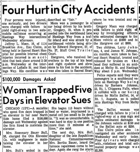 Jeffrey & Gregory Moen - Four Hurt in city accidents - e Four Hurt in City Accidents Four persons were...