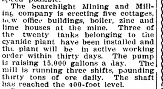 Searchlight Mining and Milling Company - on excellent and The Searchlight Mining and...