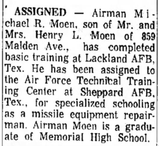 Airman Michael R. Moen - Assigned - ' ASSIGNED - Airman Michael Michael ,R. Moen,...