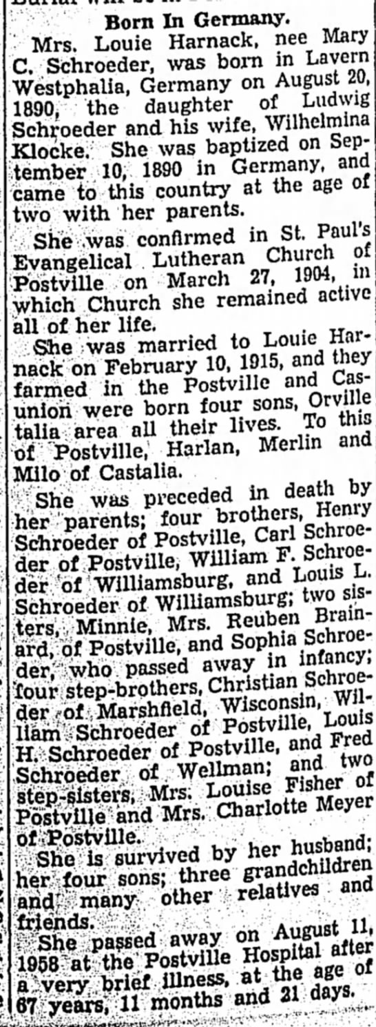 13 Aug 1958 Obit of Mary Harnack (Schroeder) - Born In Germany. Mrs. Louie Harnack, nee Mary...