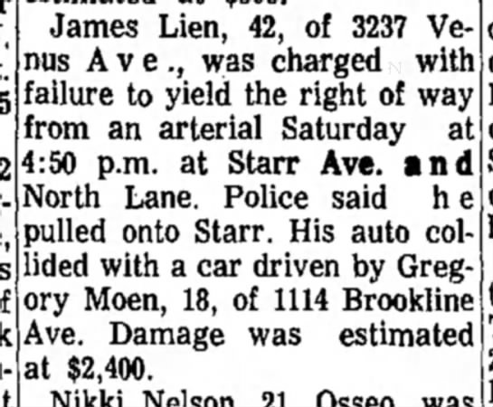 Gregory Moen - Under 32 Weekend Accidents in City Cause Heavy Damage