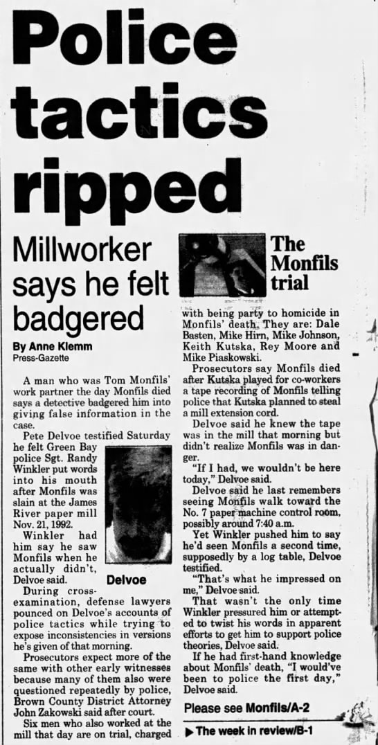 Oct 1, 1995, Monfils Homicide: Police tactics ripped pg 1 - PDp)o)(S(o Millworker says he felt badgered By...