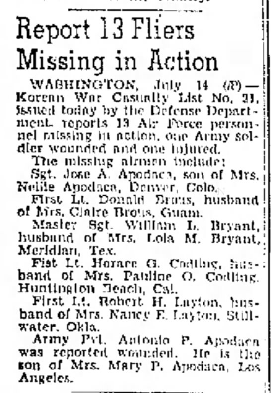 First Lt. Donald Brous, husband of Mrs Claire Brous, of Guam, MIA in Korean War - Report 13 Fliers Missing in Action WASHINGTON,...