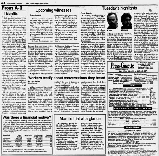 Oct 11, 1995, Monfils Homicide: 1 defendant was troubled, Basten offered explanation Pg 2 - A-2 A-2 A-2 Wednesday. October 11, 1995 Green...