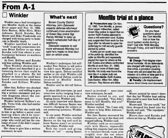 Oct 14, 1995, Monfils Homicide: Winkler defends interviews Pg 2 - From A-l A-l A-l Winkler Winkler was a lead...