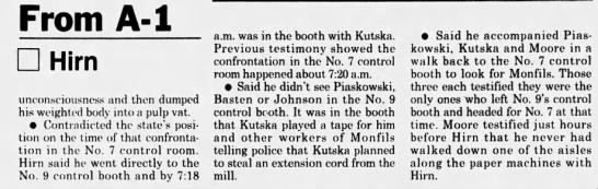 Oct 20, 1995, Monfils Homicide: Hirn contradicts some of the others testimony pg 2 - From A-l Hirn unconsciousness and then dumped...