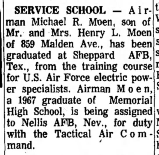 Airman Michael R. Moen (son of Henry L. Moen) - Service School