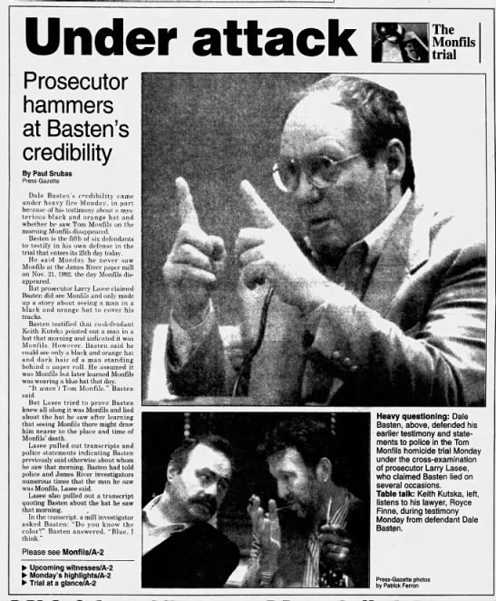 Oct 23, 1995, Monfils Homicide: Prosecutors hammer Basten Credibility pg 1 - Prosecutor hammers at Basten's credibility By...