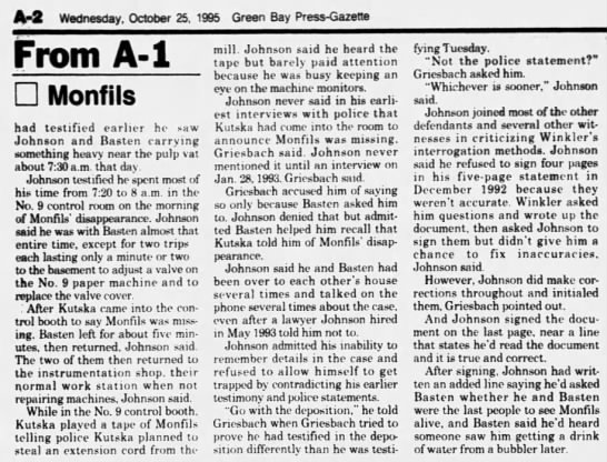 Oct 25, 1995, Monfils Homicide: Johnson had help remembering pg 2 - A-2 A-2 A-2 Wednesday. October 25. 1995 Green...