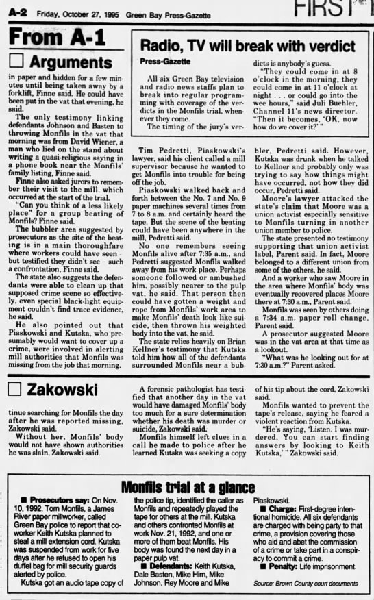 Oct 27, 1995, Monfils Homicide:  Case closer to the jury: Arguments end toda pg 2 - A-2 A-2 A-2 Friday. October 27, 1995 Green Bay...