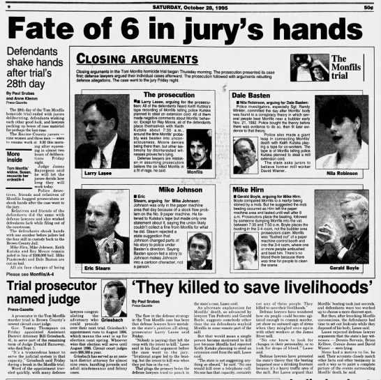 Oct 28, 1995, Monfils Homicide:  Case closer to the jury: Arguments end toda7 pg 1 - SATURDAY, October 28, 1995 500 DDfD PFW...