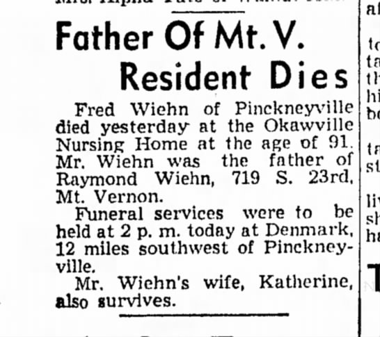 Fred Wiehn obit - Father OFMt.V. Resident Dies Fred Wiehn of...