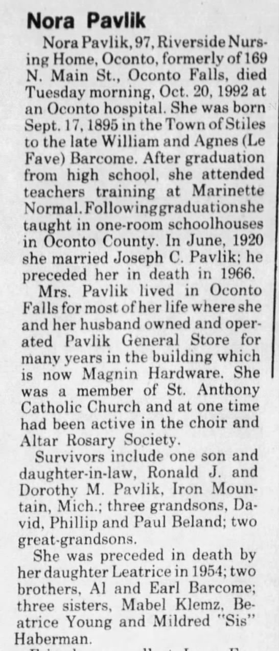 Nora Barcome Pavlik - Nora Pavlik Nora Pavlik, 97, Riverside Nursing...