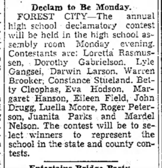 John and Dorthy in High School declamatory contest - Dcclara to Be Monday. FOREST CITY—The annual...