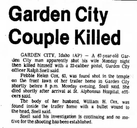 - Garden City Couple Killed GARDEN CITY, Idaho...