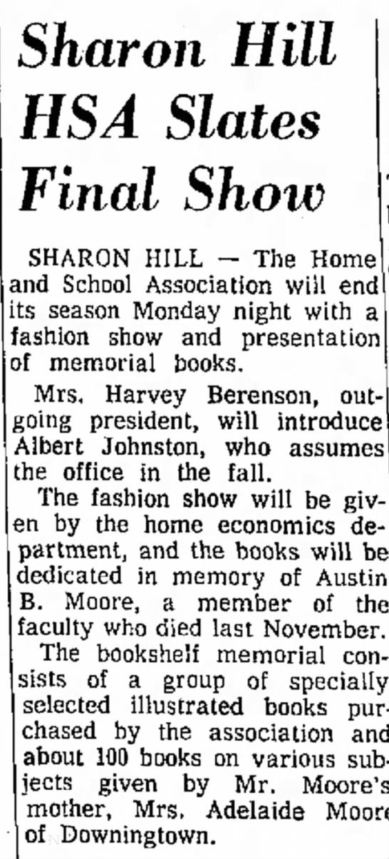 05/16/1964 - Sharon Hill HSA Slates Final Show SHARON HILL...