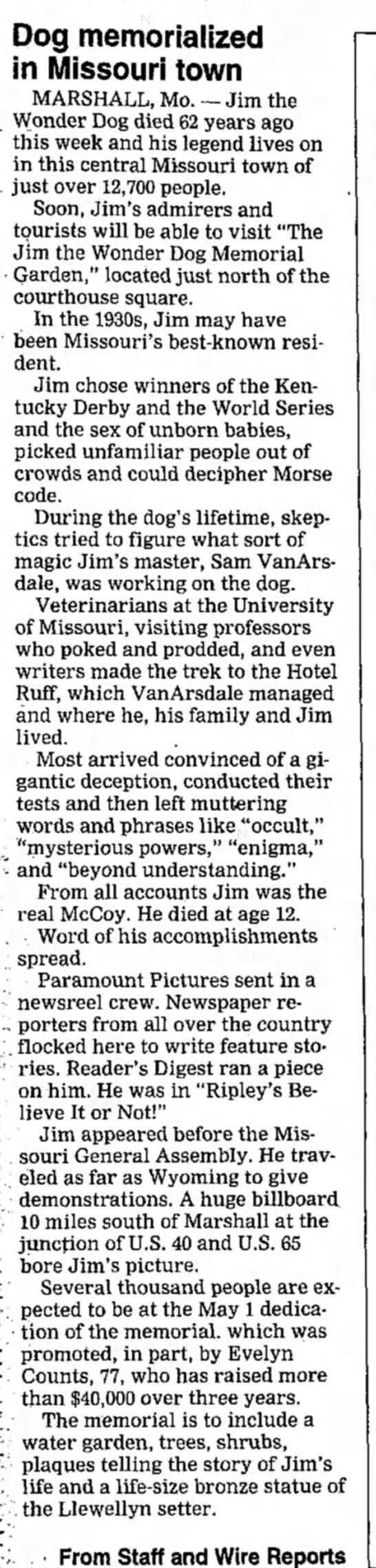 jim memorial - Dog memorialized in Missouri town MARSHALL, Mo....