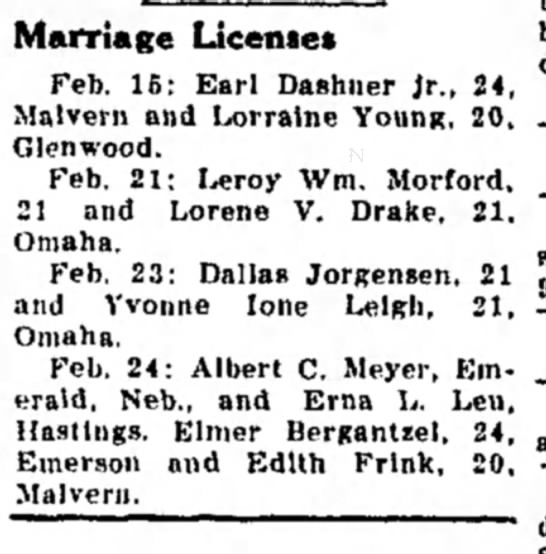 Dallas Jorgensen Wedding - Marriage License* Feb. 16: Earl Dashner Jr.,...
