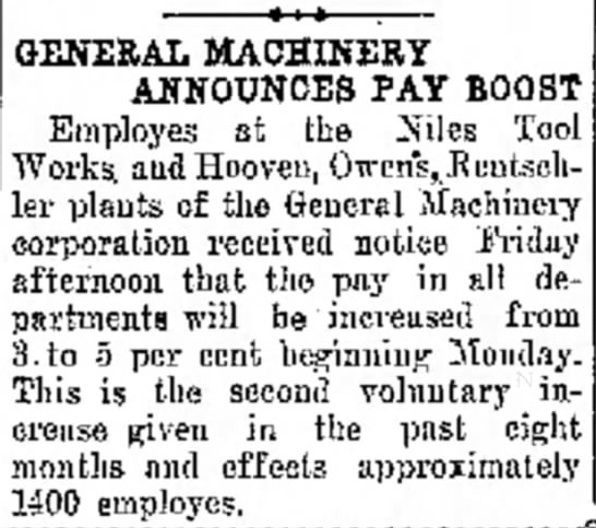 General Machinery Announces Pay Boost - Miss was Peck GENERAL MACHINERY ANNOUNCES PAY...