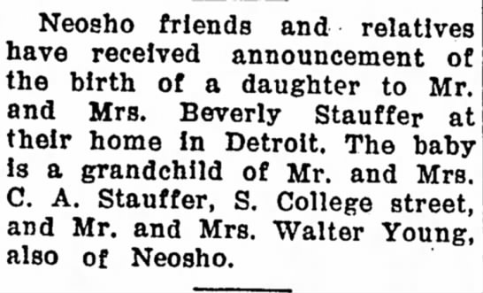 Bukowich, Caroolyn Stauffer Birth Announcement - Neosho friends and relatives have received...