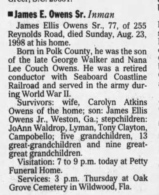 james e owens sr - James E. Owens Sr. Inman James Ellis Owens Sr.,...