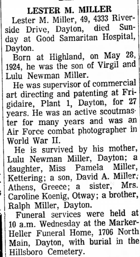 Lester M Miller Obituary - Sunday and Oliver, Morrow; Goldie Hannah was...