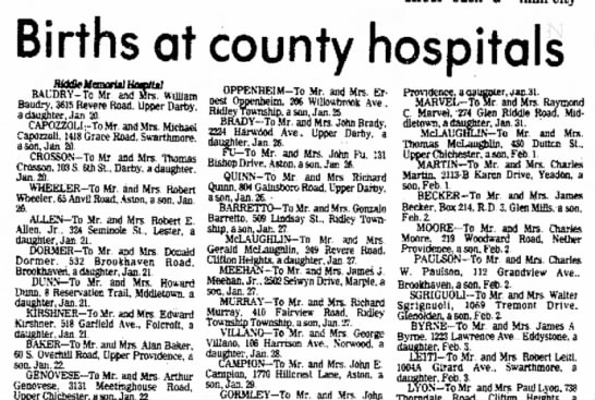 George Villano and wife - Births at county hospitals BAUDRV-To Mr and...