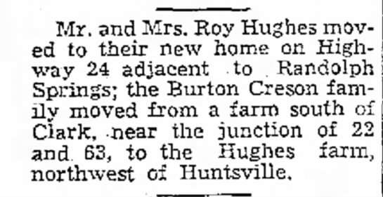 - Mr. and Mrs. Roy Hughes ed to'their new home...