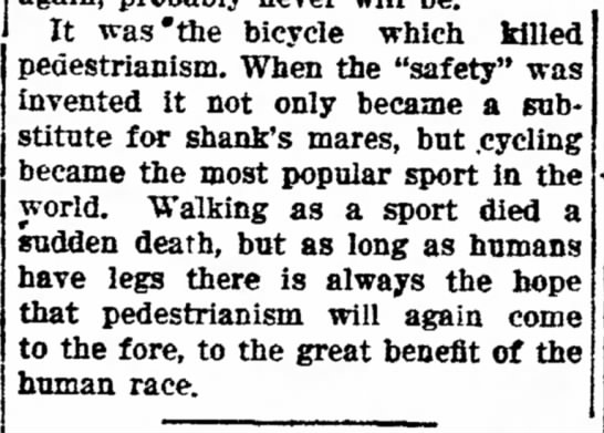 It was the bicycle which killed pedestrianism - It was'the bicycle which killed pedestrianism....