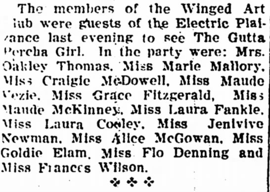 Ms Oakley Thomas - Tho members of the Winged Art lub were {Aiests...