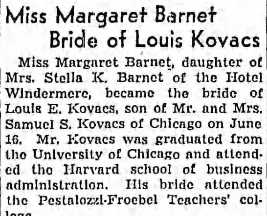 Kovacs-Barnet Wedding - Miss Margaret Barnef Bride of Louis Kovacs Miss...
