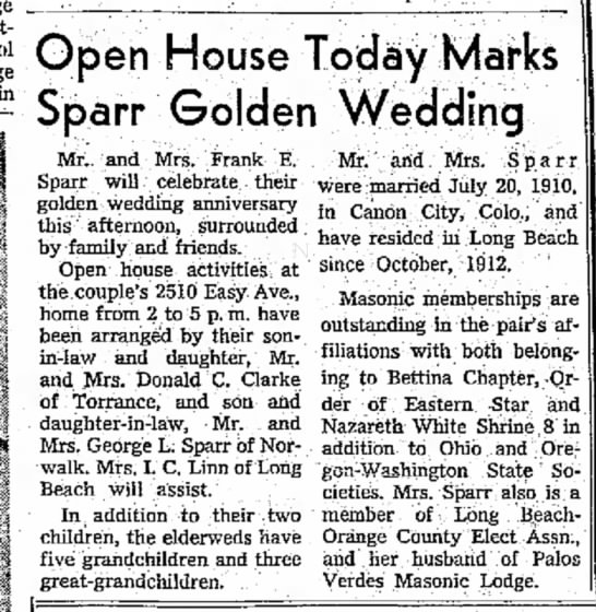Frank E. Sparr (son of Peter M.) anniversary - College Open House Today Marks Sparr Golden...