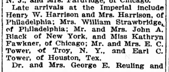 Katharyn Fawkner Wash Post 1911B - which la Late arrivals at the Imperial Include...