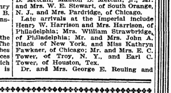 Katharyn Fawkner Wash DC - Henry B. Winslow, The which la and Mrs. W. E....