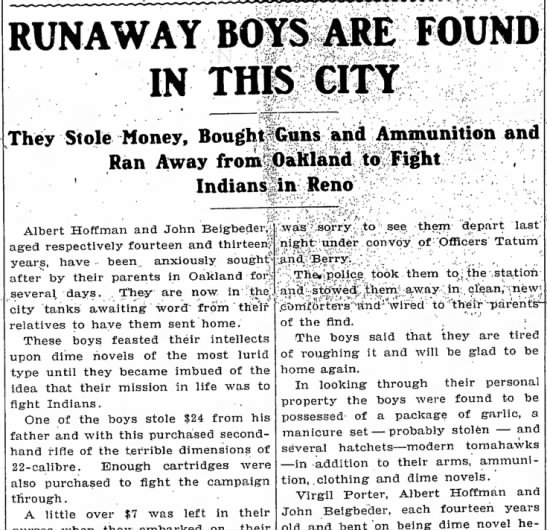 """Boys Run Away Inspired by """"Dime Novels of the Most Lurid Type"""""""