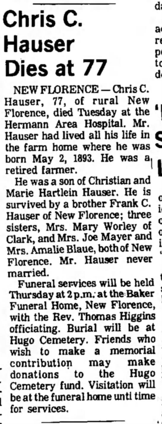 Chris C Hauser Obituary
