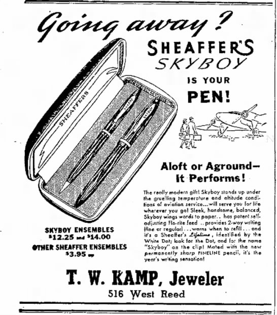 1941 Skyboy regular clip opis - S H E A F F IS YOUR PEN! SKYBOY ENSEMBLES...
