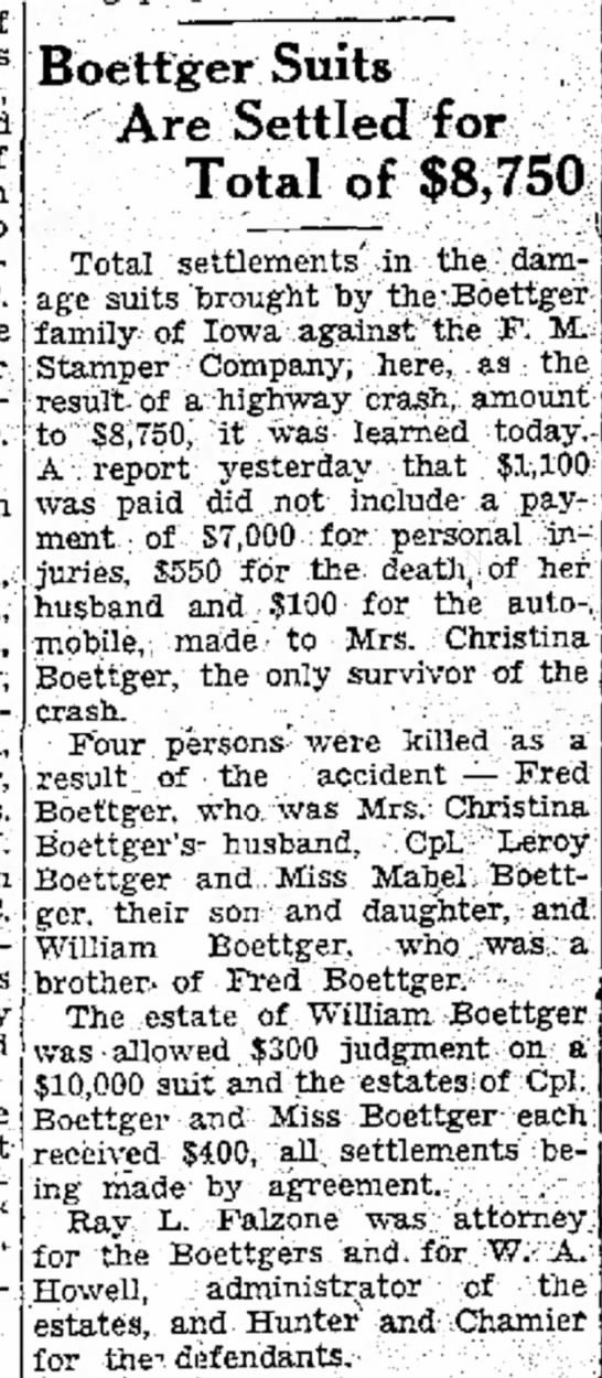 fred boettger car accident 1942 - setlement in 1944 - of was and of piano Invocation C. Mr. W. C....