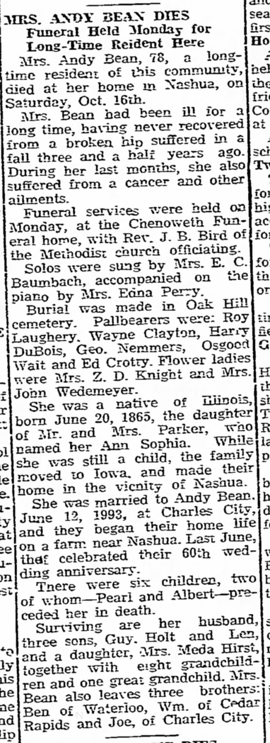 Anna Sophia ParkerBean  Obit - C, another of Fair the trade ru 3IRS AND! 3EAX...