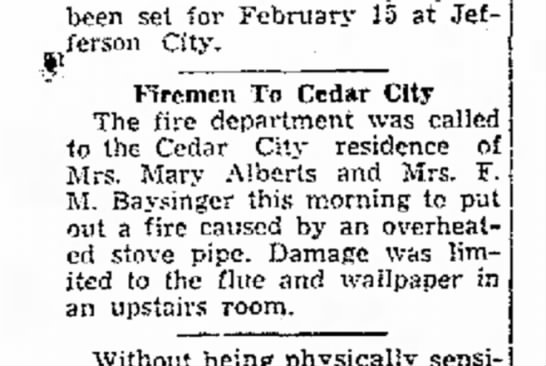 Fire in Cedar City/Mary Alberts - been set for February 15 at Jefferson Jefferson...