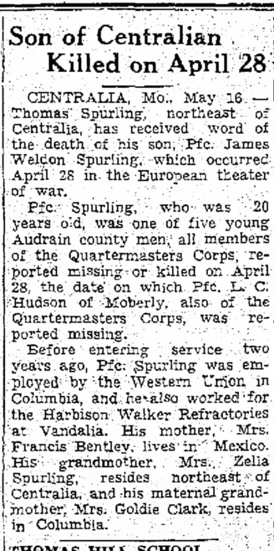 Moberly Monitor 5-16-1944 Page #3 Death of James Spurling