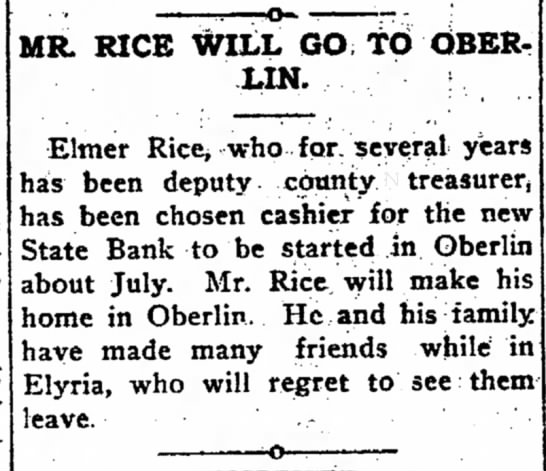Elmer Rice will go to Oberlin - who Hygienic -o- MR. RICE WILL GO TO OBERLIN. :...